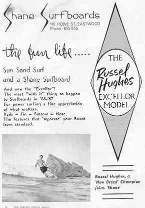 Shane Surfboards/Russell Hughes Advertisement,Surfing               World Jan 1967